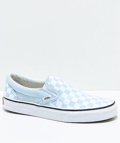 Vans Slip-On Baby Blue   White Checkered Skate Shoes 635f5e3dd