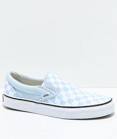 17b1481f4c Vans Slip-On Baby Blue   White Checkered Skate Shoes
