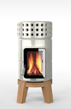 Portable fireplace. Very modern and clean looking design.  STACK STOVES BY LA CASTELLAMONTE
