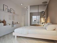 Спальня в  цветах:   Светло-серый, Серый, Бежевый.  Спальня в  стиле:   Минимализм.
