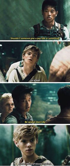 I wish they had this in the movie!!! I love Minho and Newt together!