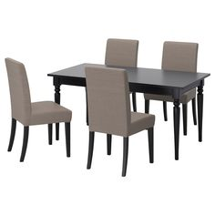 IKEA - INGATORP / HENRIKSDAL, Table and 4 chairs, Extendable dining table with 1 extra leaf seats 4-6; makes it possible to adjust the table size according to need.No seams in the table top when the table is not extended.The clear-lacquered surface is easy to wipe clean.The extra leaf can be stored within easy reach under the table top when not in use.The table has no overhang when extended, so there is no risk of small children hitting their head on the table top.The legs remain at eac...