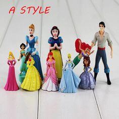 10ピース/ロット王女おもちゃ白雪姫bellaアリエルジャスミンシンデレララプンツェルpvcフィギュア人形女の子のための送料無料