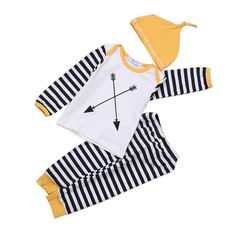 >> Click to Buy << Newborn Baby Girl Boy Long Sleeve Striped Romper Hat Clothes Tops+Pants Outfits Set 3 pcs #Affiliate