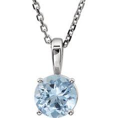 "Sterling Silver Imitation Aqua ""March"" Birthstone 14"" Necklace"