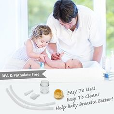 Baby Nasal Aspirator Clears Mucous & Sinus Congestion - Hospital Grade Booger Remover is Safe, BPA Free, Easy to Use - Clean Sick Toddlers & Infants Nose & Help Child Breathe Better With a Cold or Flu Sick Toddler, Sinus Congestion, Baby Essentials, Easy To Use, Breathe, Infant, How To Remove, Personal Care, Amp
