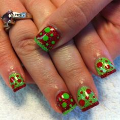Christmas nails.  Reminds me of How The Grinch Stole Christmas for some reason.