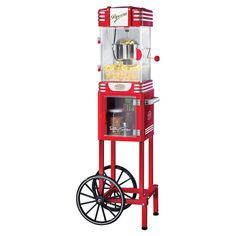 With a retro-inspired cart design and crank-handle stirring system, this charming popcorn maker offers a delightful touch of nostalgic style to movie nights ...