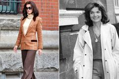"""It's a blast from the past. Katie Holmes is playing Jackie O in an upcoming miniseries, """"The Kennedys: After Camelot."""" Filming in Toronto on Thursday, the actress stepped out in a…"""