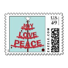 Peace, Love, Joy - Red & Light Blue Christmas Postage Stamp