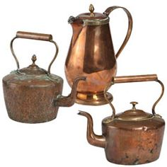 We have a large variety of antique copperware kettles like the ones pictured here.