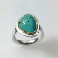 Turquoise silver and gold Polki ring U.K. M.5 £240.00