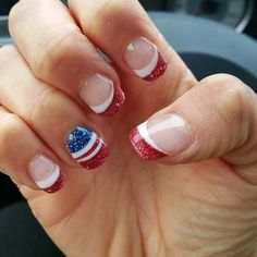 Red Glitter French Manicure with Flag Accent Nail for 4th of July