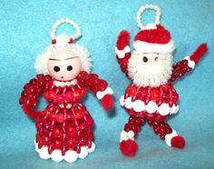 Vintage-Christmas-HAND-MADE-Beaded-Ornament-SET-Mr-amp-Mrs-Claus-SOOO-CUTE