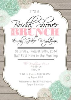 bridal shower brunch printable invitation