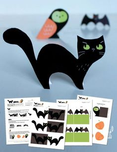 Halloweenprintable patterns, templates and design. No-sew owl, bat and cat decorations!