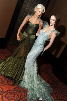 Crystal Renn and Coco Rocha in Zac Posen at New Yorkers For Children's ninth annual spring dinner dance.