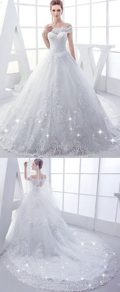 Elegant Tulle Off-the-shoulder Neckline Ball Gown Wedding Dresses With Lace Appliques by MeetBeauty, $225.64 USD