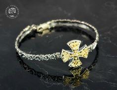 byzantine cross silver golden bangle bracelet, byzantine bracelet, oriental bracelet, antique bracelet, byzantine jewelry, antique jewelry by GreekGoddessJewelry on Etsy