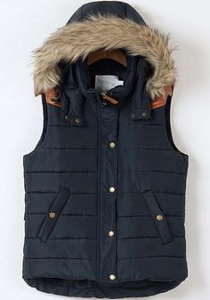 Blue Plain Band Collar Hooded Pockets Cotton Vest