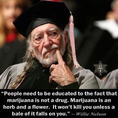 """People need to be educated to the fact that marijuana is not a drug. Marijuana is an herb and a flower. It won't kill you unless a bale of it falls on you."" ~ Willie Nelson"