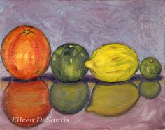 "Original Oil Painting of Orange, Lime, Lemon, & Keylime on 8"" x 10"" Canvas, Still Life Citrus Series, Kitchen art, Wall Decor, SFA"