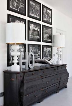 Black and White photos and console. Antique with Modern.