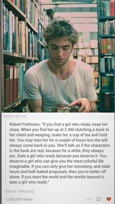 I know it's Robert Pattinson, but seriously, he hates twilight! So this is true! I Love Books, Books To Read, My Books, The Words, Book Memes, Book Quotes, Reading Quotes, Bookworm Quotes, Literature Quotes