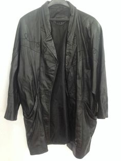 "Pelle Leather Trench Coat Women Plus 1X Black 35"" Long Stitch Detail Front Yoke  #Pelle #Trench"