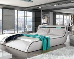 Found it at Wayfair - Peabody Modern European Kingsize Upholstered Platform Bed Leather Platform Bed, Bed Platform, Modern Platform Bed, Upholstered Platform Bed, Bedroom Bed Design, Home Decor Bedroom, Modern Bedroom, Bedroom Ideas, European Home Decor