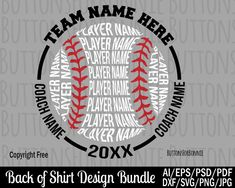 Softball svg, baseball svg, t-ball svg, champion svg, all star svg, all star champion svg, back of shirt svg, team members svg, cut file by ButtonsForBonnie on Etsy