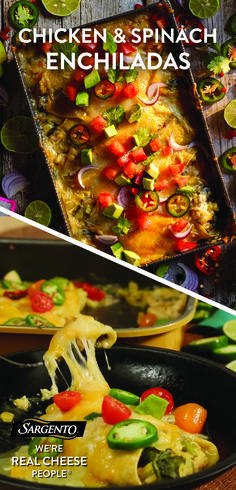 You can never go wrong with enchiladas. Especially when they're made with juicy chicken breast and Mexican blend natural cheese that's always shredded fresh from the block. Bring this recipe to life using only the freshest ingredients, such as grilled corn, baby spinach, chopped green chilies and corn tortillas. These gooey, cheesy chicken enchiladas make for a great weekday dinner or a next day lunchtime leftover. For the full step-by-step recipe visit Sargento.com.