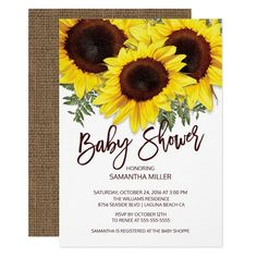 Colorful Fall Sunflowers Neutral Baby Shower Invitation - tap to personalize and get yours #Invitation  #baby #shower #sunflower #baby #shower Baby Shower Fall, Floral Baby Shower, Baby Shower Invites For Girl, Baby Shower Cards, Bridal Shower Invitations, Baby Shower Themes, Fall Baby, Girl Shower, Party Invitations