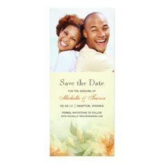 Save the Date - Yellow Tangerine Floral Photo Custom Announcements