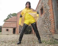 Yellow rainwear and hip waders