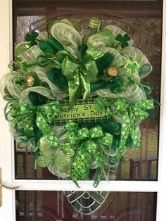 St.Patricks Day Mesh Wreath by WreathsEtc on Etsy