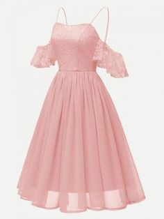 A-Line Dress Hollow Out Shoulder Ruffled Dress - A-Line Dress Hollow Out Shoulder Ruffled Dress, Pink / M Best Picture For Formelle kleider kurz F - Casual Party Dresses, Hoco Dresses, Pretty Dresses, Homecoming Dresses, Beautiful Dresses, A Line Dresses, Pink Dress Casual, Girls Formal Dresses, Dress Formal