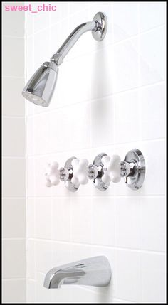 CHROME TUB U0026 SHOWER FAUCET Porcelain CROSS Handles ~NEW