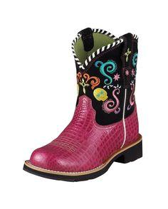 Ariat Kid's Showbaby Fiesta Fatbaby Toe Boot - Pink Gator Print/Black