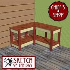 "To be used as a workbench, potting bench, or serving table on a deck. Be sure to like Chief's Shop on Facebook! Prizes are awarded at various levels of ""likes"". Free woodworking plans a…"