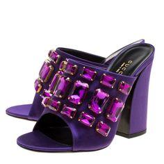 f11f2cf63ad5 Gucci Purple Satin Tessa Crystal Embellished Peep Toe Slide Mules Size 37