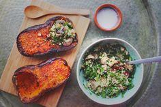 happyfoodstories: Ovnsbakt butternut squash m. quinoa-spinat-fyll