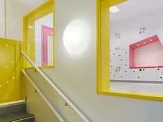 Kindergarten in Stockholm, Sweden by Swedish firm Rotstein Arkitekter with coloured storage units that double as cubby-holes and hiding places for children. Masonite Interior Doors, Interior Barn Doors, Interior And Exterior, Kindergarten Interior, Kindergarten Design, Architecture Magazines, Interior Architecture, Interior Design Institute, Learning Spaces
