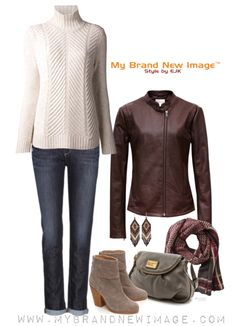I love dressing cozy when it's cold out there. Skinny boyfriend jeans, a wool blend turtle neck sweater, ankle booties and a scarf. The icing on the cake is the stylish leather jacket in Burgundy w...