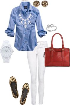 White jeans, chambray shirt, J.Crew bubble necklace, Marc Jacobs white ceramic watch, Tory Burch Reva flats, leopard earrings, red bag! Cute July 4th outfit!