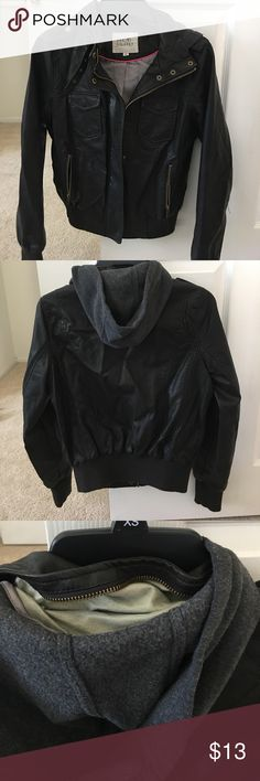 Cute leather jacket with hoodie Worn this  twice. Good condition lots of pockets and you can tuck away hoodie if you want. Jackets & Coats