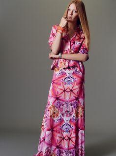 Naughty Dog SS15 jewel printed silk shirt and matching long skirt.