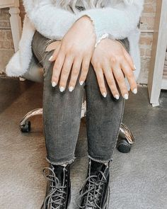 White Nails 💙 #blushsalon_spa Blush Nails, White Nails, Leg Warmers, Salons, Spa, White Nail Beds, Leg Warmers Outfit, Lounges, White Nail