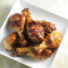 Easy and delicious chicken drumsticks with a sticky, finger-licking-good glaze.