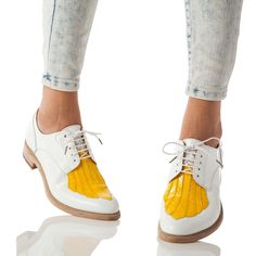 Mr. Fitzgerald Yellow + White Derby Oxford – The Office of Angela Scott